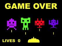 Space invaders game over stock illustration