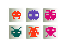 Space invaders icons set Royalty Free Stock Photography
