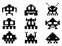 Space invaders icons set - pixel monsters Royalty Free Stock Image