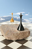 Space island. Black and white chess queen on space island Stock Images
