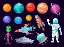 Space items. Alien ufo, universe planet and missile rockets. Planets game design cartoon graphics vector item set royalty free illustration