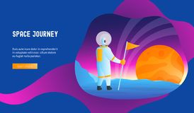 Space journey concept. Astronaut conquers the planet. Space journey concept. Modern vector illustration astronomy backend base bright colonization colony color royalty free illustration