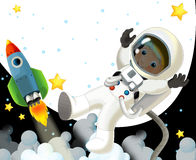 The space journey - happy and funny mood - illustration for the children Stock Photos