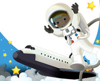 The space journey - happy and funny mood - illustration for the children Royalty Free Stock Photography