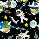 The space journey - happy and funny mood - illustration for the children Royalty Free Stock Image