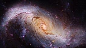 Space journey through start field into stellar nursery NGC 1672. Spiral galaxy in the constellation Dorado