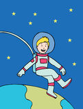 Space Kid Floating Stock Image