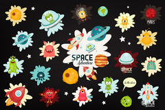 Space Labels Set. Cartoon Aliens and Galaxy Monsters with Shuttles, Rockets and Spaceships on Black Background. Stickers for Design of T-shirts or Sweatshot Royalty Free Stock Image