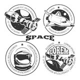 Space labels set - labels or logo with shuttle. International space station and astronaut. Vector illustration vector illustration