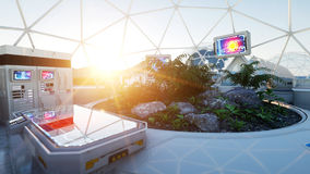 Space laboratory. life on mars, alien planet. Plants in the space. 3d rendering. Stock Photography
