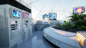 Space laboratory, sci-fi interior. life on mars, alien planet. Plants in the space. 3d rendering. Stock Photography