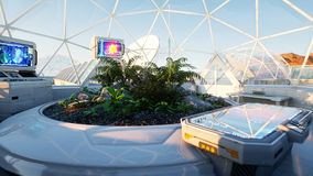 Space laboratory, sci-fi interior. life on mars, alien planet. Plants in the space. 3d rendering. Stock Images