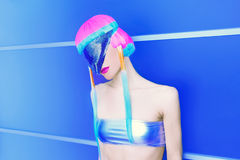 Space lady. Fashion club party style Stock Image