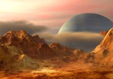 Space landscape. Imaginary landscape on a distant planet. Digital illustration Stock Photography