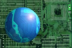 Space landscape. Flying object (blue circuit board as a sphere) on blurred green background (another circuit board Royalty Free Stock Photography