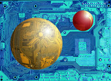 Space landscape. Flying objects  ( circuit boards as a spheres ) on blue background (another circuit board Stock Image