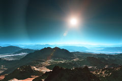 Space landscape. Abstract surrealistic space landscape of mountainous planet surface Royalty Free Stock Images