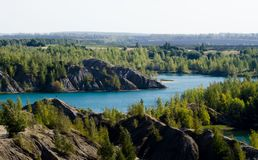 Space landscape. Konduki, Tula region, Russia. Mountains and lakes. Forest and fields royalty free stock image