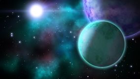 Space landscape. Loop. Seamless cosmos background with rotating planets. CGI animation stock video