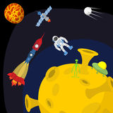 Space landscape: Moon and alien. UFO and rocket Royalty Free Stock Photography