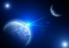 Space landscape with planets and stars Stock Images