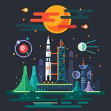 Space landscape, rocket launch royalty free illustration