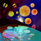Space Landscape water planet. Illustration Stock Photo