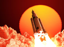 Space Launch System Takes Off On The Background Of Sunrise. 3D Scene Royalty Free Stock Photo