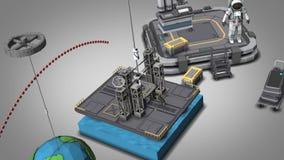 Space - lift anchored to a platform at sea no txt