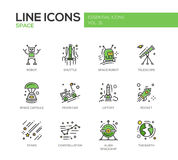 The Space - line design icons set. The Space - modern vector line design icons and pictograms set. Robot, shuttle, telescope, capsule, moon car, liftoff, rocket royalty free illustration