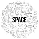 Space line icon Stock Photos