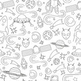 Space line icon pattern royalty free illustration