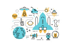 Space line icons illustration Stock Image
