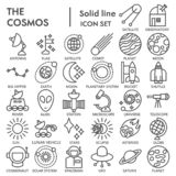 Space line SIGNED icon set, astronomy symbols collection, vector sketches, logo illustrations, science signs linear. Pictograms package isolated on white royalty free illustration