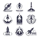Space logotypes. Rockets and flight shuttle moon discovery business retro badges vector monochrome pictures royalty free illustration