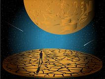 Space loneliness little person. Space loneliness of the little person on Earth and in the Universe Stock Images