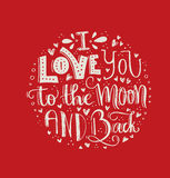 Space Love. I Love You To The Moon And Back -  Vector art. Unique t-shirt or bag design, house warming poster, greeting card illustration or save the date Royalty Free Stock Photography