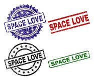 Grunge Textured SPACE LOVE Seal Stamps royalty free illustration