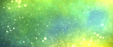 Free Space Magic Charming Deep Rich Background With Many Stars And Glow. Green Yellow And Blue Shades Stock Photos - 213184403