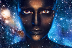 Space make up on female face Royalty Free Stock Photo