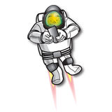 Space MAN. A space man flying with a jet on his back Stock Image