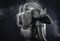 Space man, astronaut dressed in silver or metalized space suit. Royalty Free Stock Image