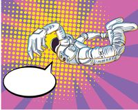 Space Man comic art.Astronauts fly in The space and atmosphere background.Comic Space man Halftone and Pop art style. Astronauts fly in The space and atmosphere Royalty Free Stock Photo
