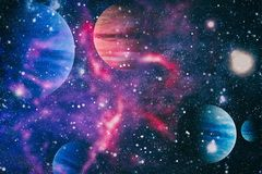Planets, stars and galaxies in outer space showing the beauty of space exploration. Elements furnished by NASA. Space many light years far from the Earth Royalty Free Stock Photography