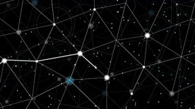 Bright particle with white trace moving among stars stock footage