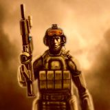 Space marine in suit with a rifle. Orange background. stock image