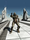 Space Marine Trooper on the Bridge. Futuristic space marine trooper guarding a bridge, 3d digitally rendered illustration Stock Images