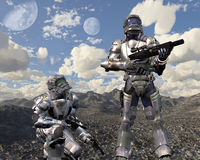 Space Marines on Deserted Planet - 1. Digital render of two armoured space marines exploring a deserted planet vector illustration