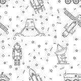 Space memphis seamless pattern. Royalty Free Stock Images