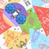 Space memphis seamless pattern. Stock Images